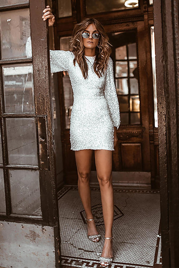 White Puffy Sleeve Sequin Party Mini Dress - Party Girl Fashion Exclusives