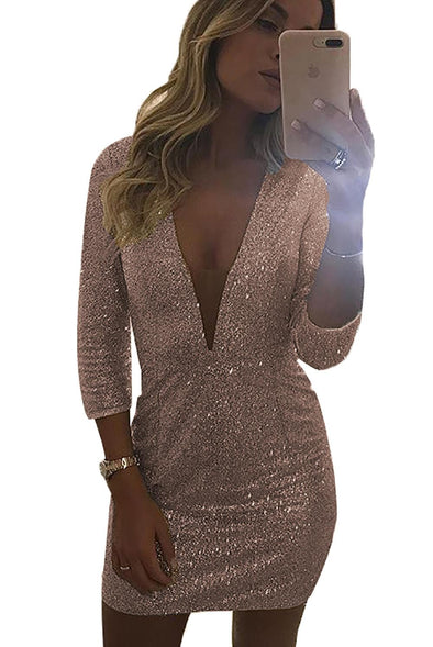 Deep V Neck Sequin Mini Dress - Party Girl Fashion Exclusives
