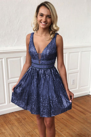 V-Neck Sequin Sparkle Homecoming Dress - Party Girl Fashion Exclusives
