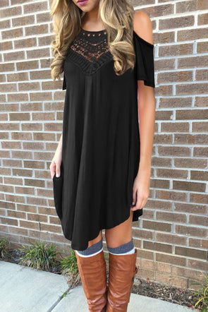 Black Lace Hollow-out Cold Shoulder Casual Dress - Party Girl Fashion Exclusives