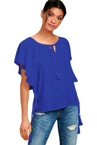 Blue Butterfly Sleeve Top with Tasseled Ties - Party Girl Fashion Exclusives