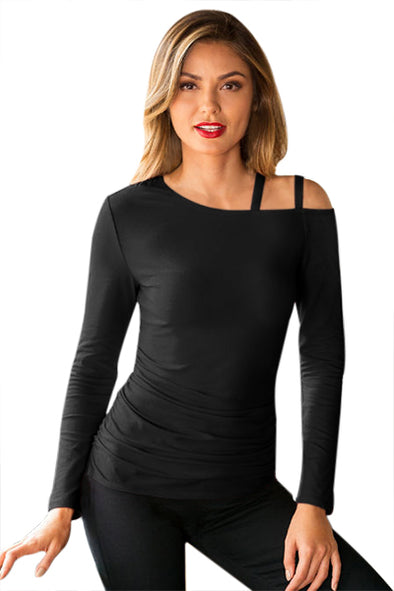 Black Ruched Asymmetric Top - Party Girl Fashion Exclusives