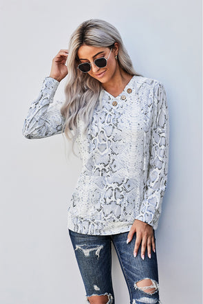 Snake Print Kangaroo Pocket Hoodie - Party Girl Fashion Exclusives