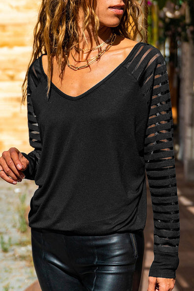 Black Sheer Stripe V-Neck Top - Party Girl Fashion Exclusives