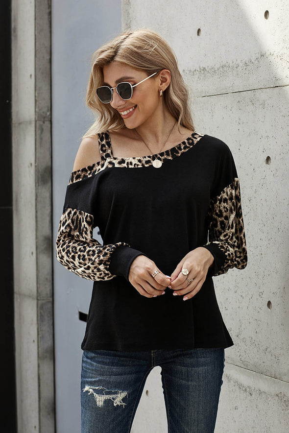 Leopard Stitching Long-sleeved Blouse - Party Girl Fashion Exclusives