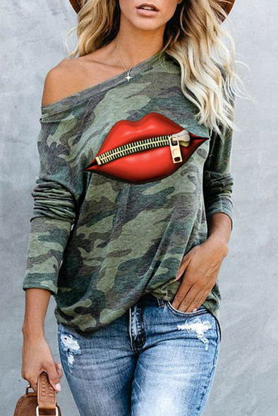 Green Camo Lip Print Top - Party Girl Fashion Exclusives