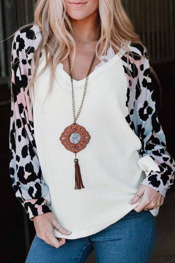 White Leopard Sleeve V Neck Waffle Top - Party Girl Fashion Exclusives