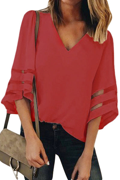 Red Flare Sleeve V Neck Loose Blouse - Party Girl Fashion Exclusives