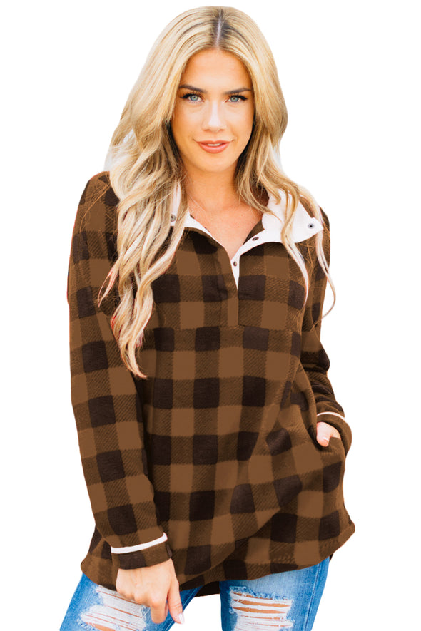 Brown Plaid Fleece Pullover Sweatshirt - Party Girl Fashion Exclusives