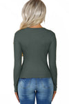 Gray Subtly Ribbed Button Front Long Sleeve Top - Party Girl Fashion Exclusives