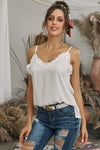 White V-Neck Ruffle Adjustable Spaghetti Strap Tank Top - Party Girl Fashion Exclusives