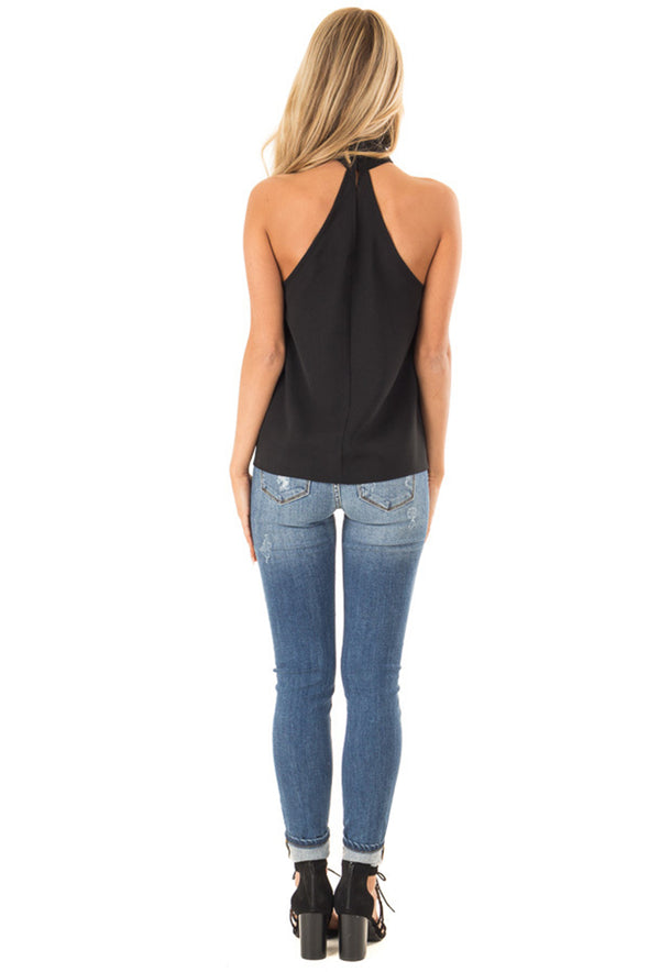 Black Sleeveless Halter Top with Keyhole Back - Party Girl Fashion Exclusives