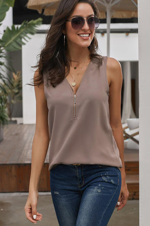 Khaki Zip Neckline Sleeveless Shirt Tank - Party Girl Fashion Exclusives