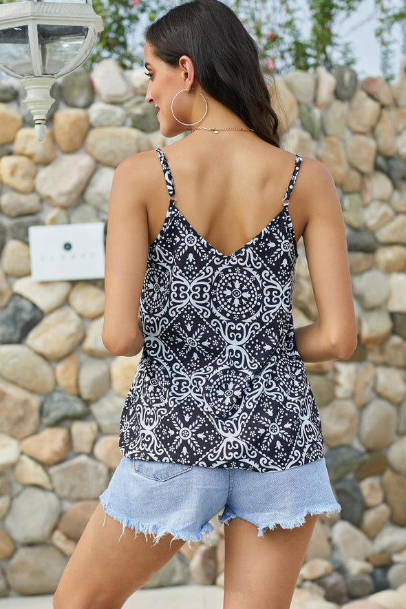Spaghetti Strap Boho Printed Holiday Camisole - Party Girl Fashion Exclusives
