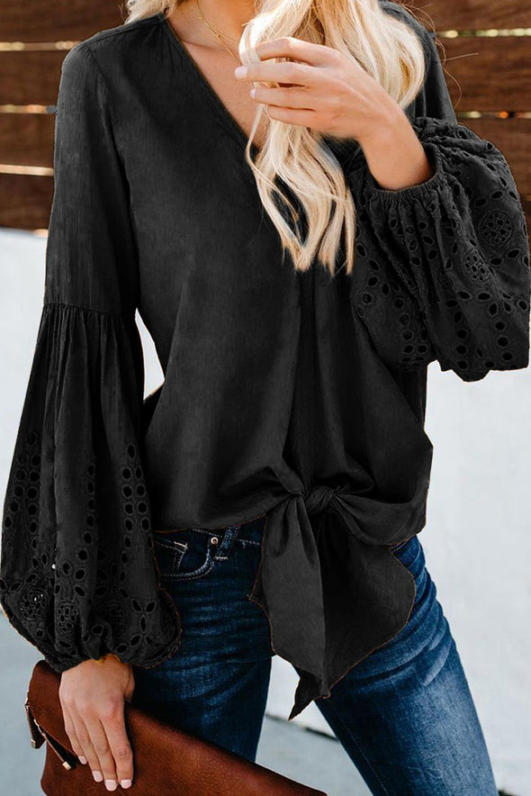 Black Rhapsody Cotton Balloon Sleeve Tie Top - Party Girl Fashion Exclusives