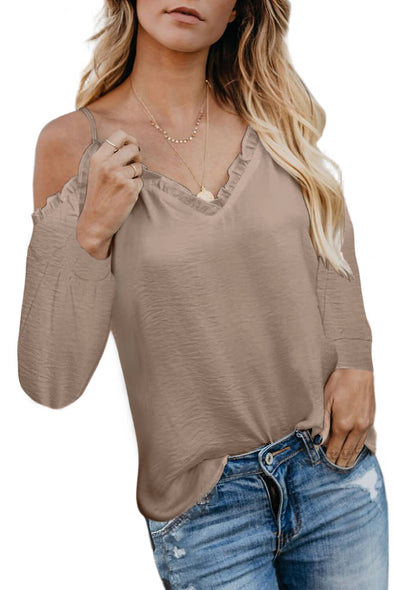 Apricot V Neck Off Shoulder Spaghetti Strap Shirt - Party Girl Fashion Exclusives