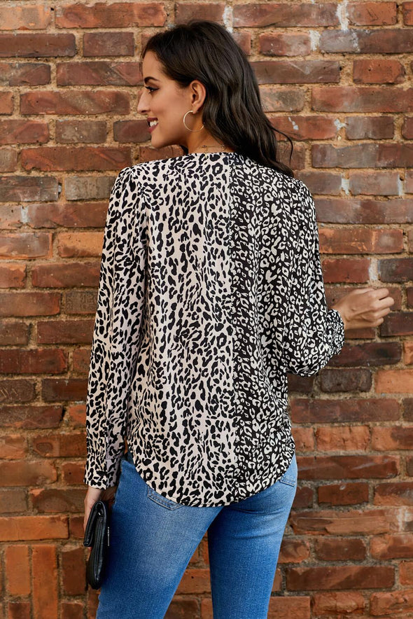 Leopard Out Of Sight Mixed Print Drape Blouse - Party Girl Fashion Exclusives