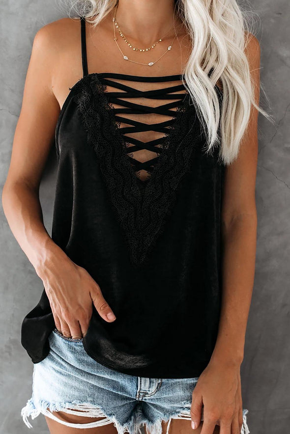 Black Sweet Cross Lace V Neck Cami Top - Party Girl Fashion Exclusives