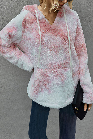 Tie-dye Plush Pullover Hoodie - Party Girl Fashion Exclusives