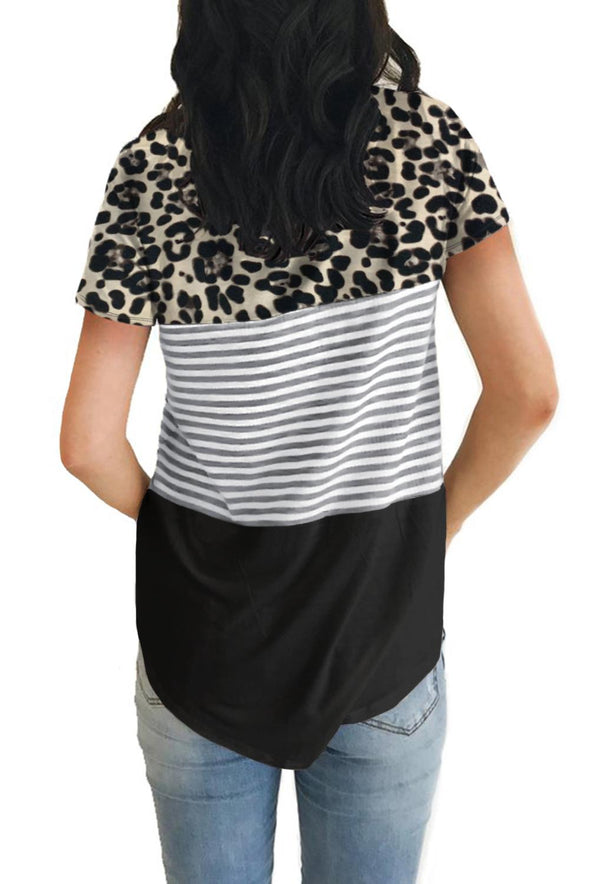 Black Block Striped and Leopard Short Sleeve Tee - Party Girl Fashion Exclusives
