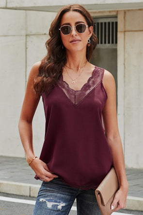 Wine Sexy V Neck Lace Detail Vest - Party Girl Fashion Exclusives
