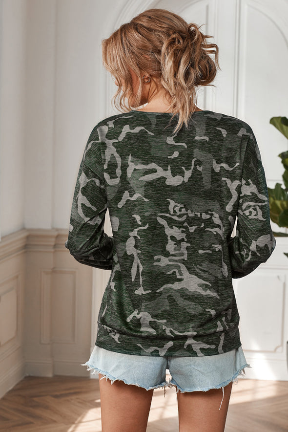 V Neck Camouflage Blouse - Party Girl Fashion Exclusives