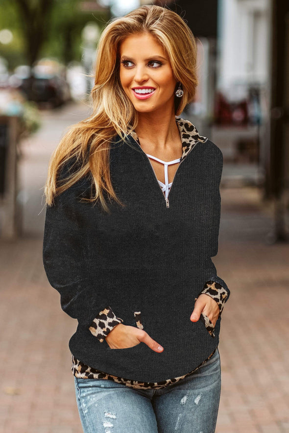 Leopard Detail Black Zip Neck Pullover - Party Girl Fashion Exclusives