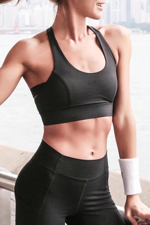 Black Athletic Push Up Sports Bra - Party Girl Fashion Exclusives