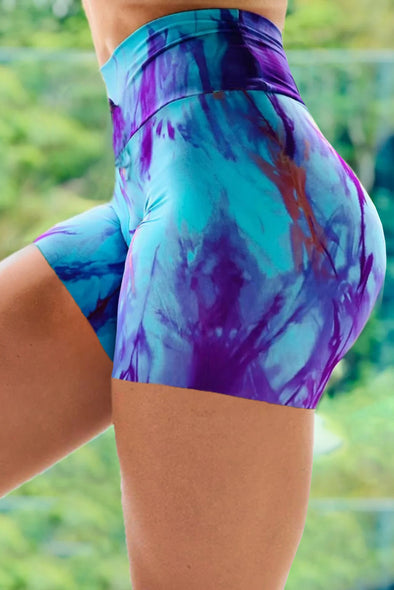 Sky Blue Tie-dye Print Booty Yoga Shorts - Party Girl Fashion Exclusives