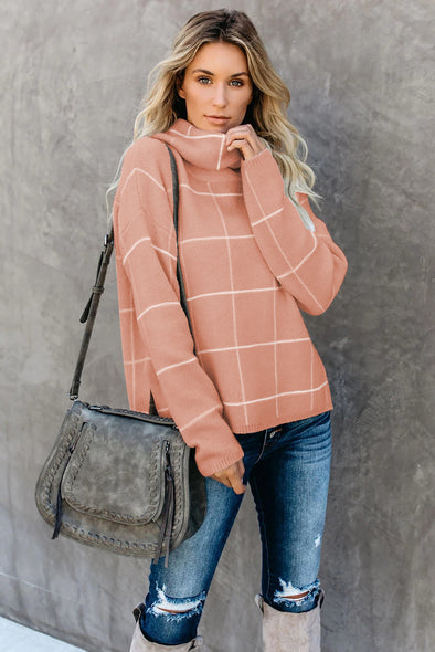 Khaki Grid Pattern Turtleneck Sweater - Party Girl Fashion Exclusives