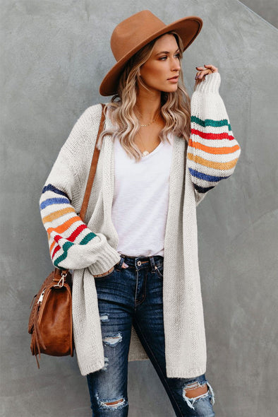 White Striped Balloon Sleeve Cardigan - Party Girl Fashion Exclusives