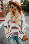 White Rainbow Stripe Pattern Sweater - Party Girl Fashion Exclusives