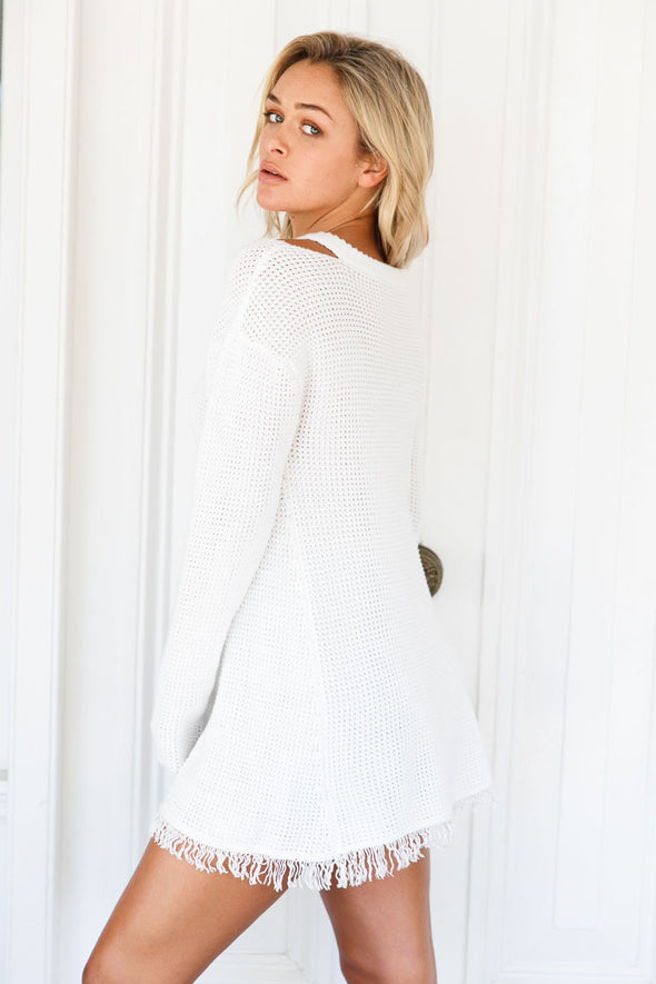 White V Neck Waffle Knit Sweater - Party Girl Fashion Exclusives