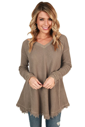Khaki V Neck Waffle Knit Sweater - Party Girl Fashion Exclusives