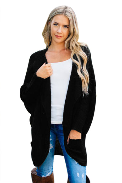 Black Dolman Sleeve Knit Cardigan with Pocket - Party Girl Fashion Exclusives