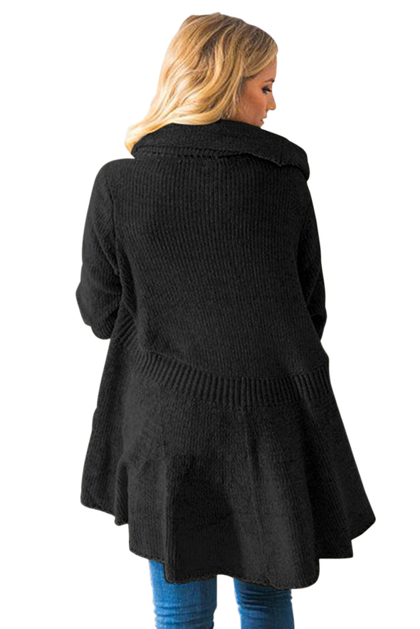 Black Velvety Chenille Knitted Cardigan - Party Girl Fashion Exclusives