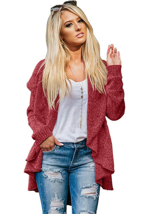 Burgundy Velvety Chenille Knitted Cardigan - Party Girl Fashion Exclusives