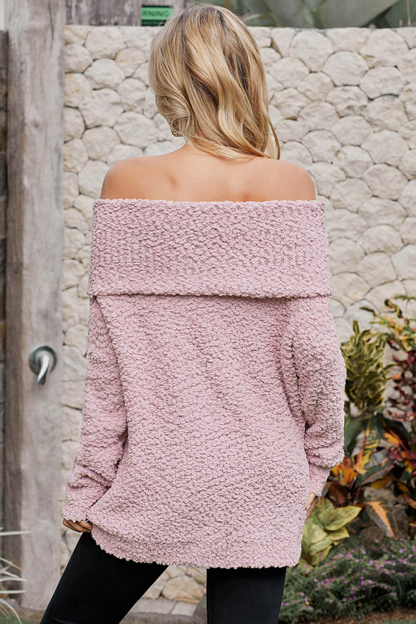 Pink Off The Shoulder Comfy Sweater - Party Girl Fashion Exclusives