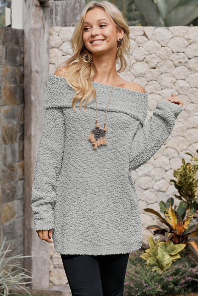 Gray Off The Shoulder Comfy Sweater - Party Girl Fashion Exclusives