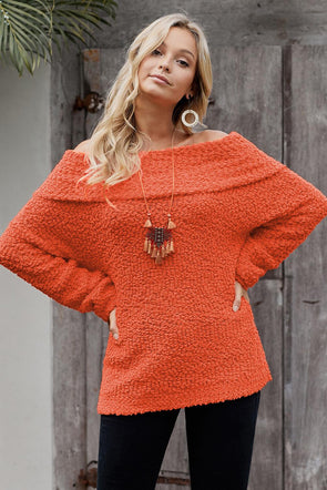 Orange Off The Shoulder Comfy Sweater - Party Girl Fashion Exclusives