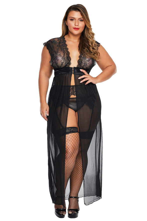 Black Plus Size Locked Away Lover Lingerie Gown - Party Girl Fashion Exclusives