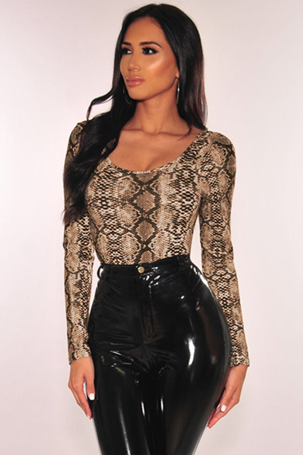 Multicolour Snake Print Long Sleeves Bodysuit - Party Girl Fashion Exclusives