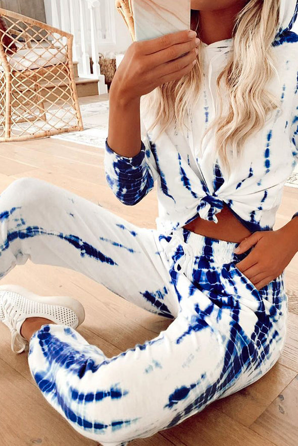 White Tie Dye Crop Knit Set - Party Girl Fashion Exclusives