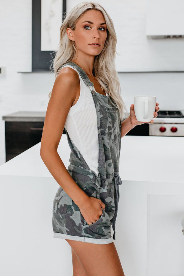 Green Camo Pocketed Short Overall - Party Girl Fashion Exclusives