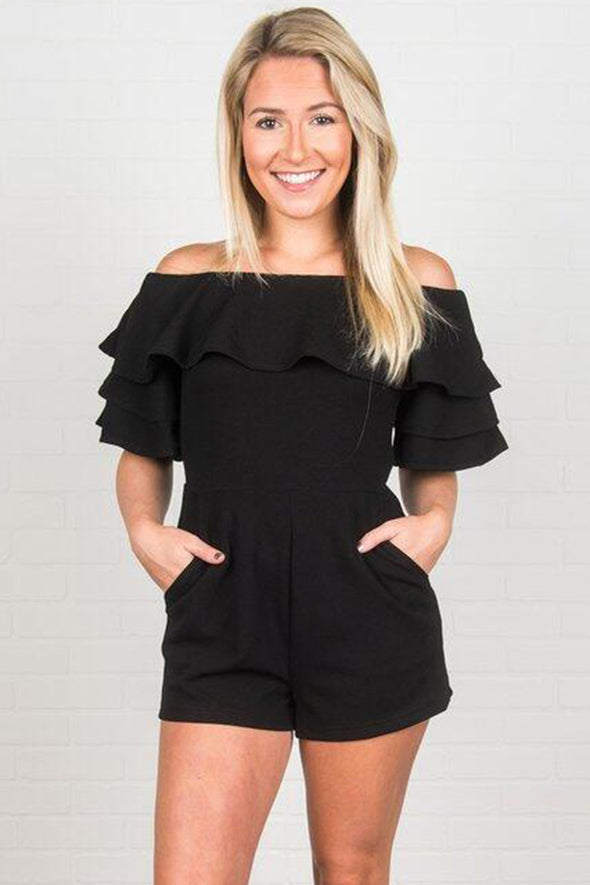 Black Off Shoulder Neckline Ruffled Detail Playsuit - Party Girl Fashion Exclusives