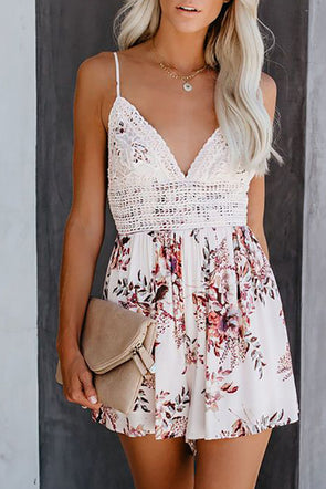 White Deep V Spaghetti Straps Lace Floral Romper - Party Girl Fashion Exclusives