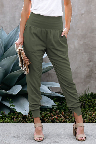 Green Pocketed Cotton Joggers - Party Girl Fashion Exclusives