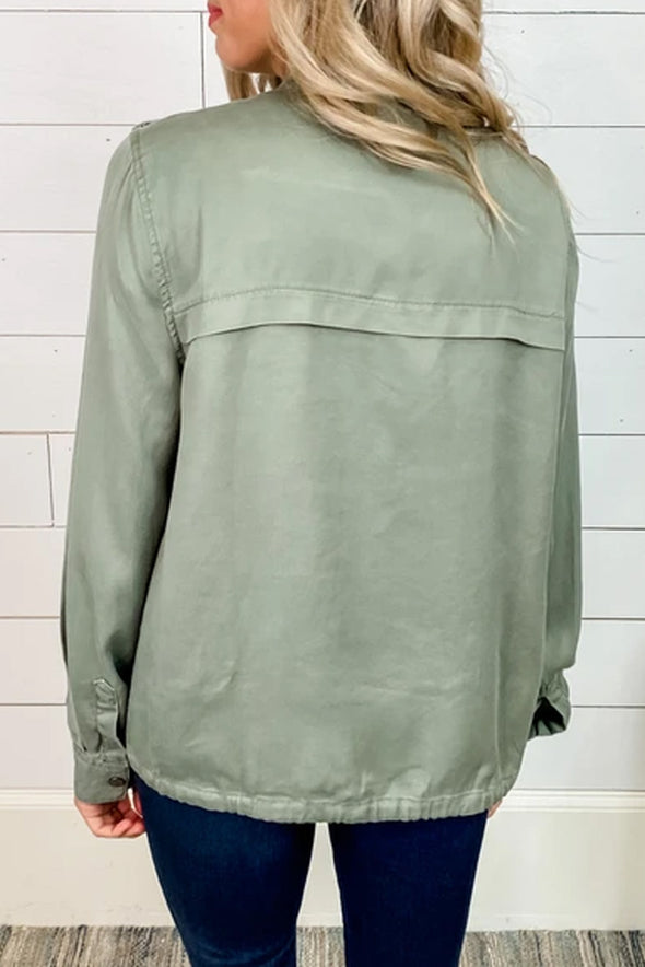 Olive Utility Double Chest Pockets Jacket - Party Girl Fashion Exclusives