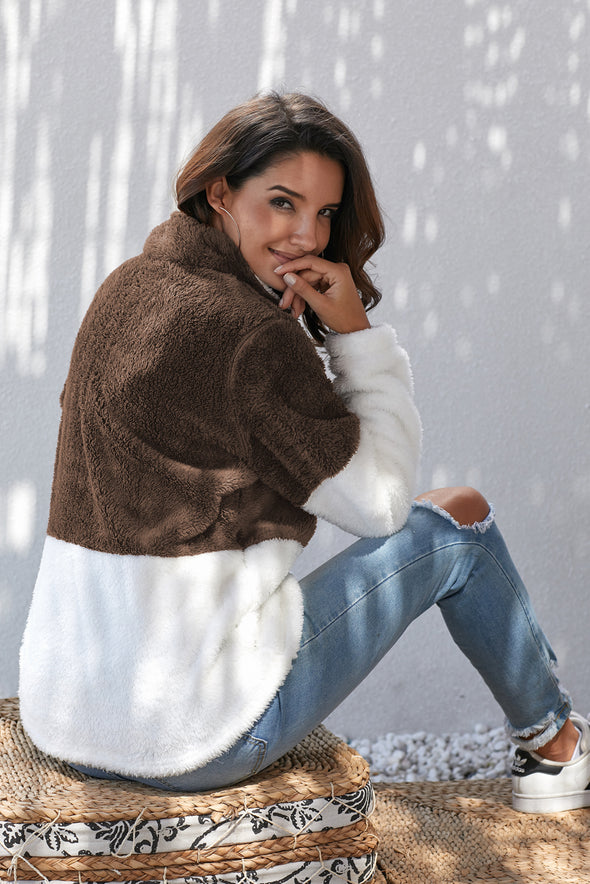 Brown White Zip Neck Oversize Fluffy Fleece Pullover - Party Girl Fashion Exclusives