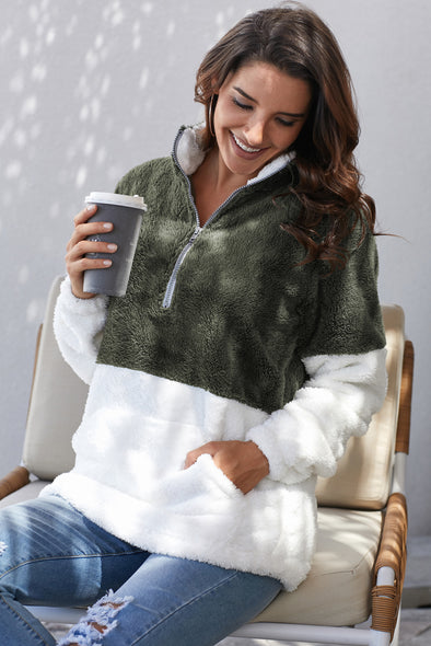 Atrovirens White Zip Neck Oversize Fluffy Fleece Pullover - Party Girl Fashion Exclusives